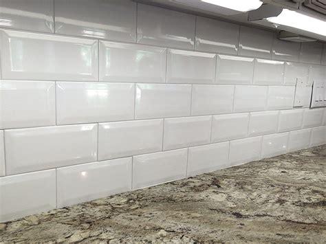 Bathroom Ideas White Beveled Subway Tile Backsplash With