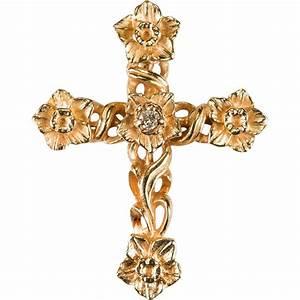 Daffodils Diamond Cross 14k Rose Gold Flower Cross Pendant ...
