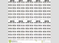 Kalender 20102019 vector illustratie Illustratie