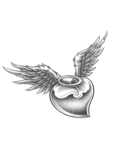 black angel wing with broken halo tattoos | Heart With Halo And Angel Wings Tattoo | Tatuajes de