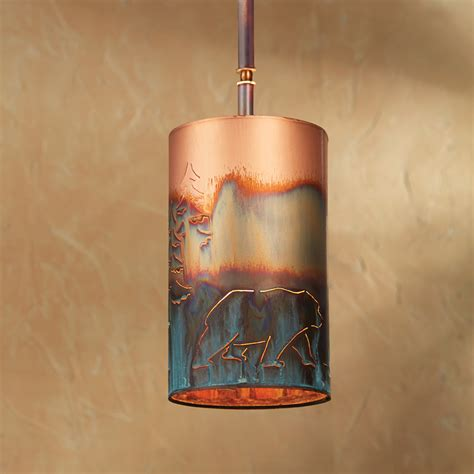 copper bear pendant light