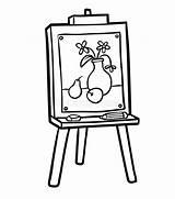 Easel Chevalet Colorare Cavalletto Libro Schildersezel Coloring Colorir Boek Kleurend Coloriage Cavalete Malbuch Schilderen Livro Abbildung Gestell Arte Illustrazione Junge sketch template