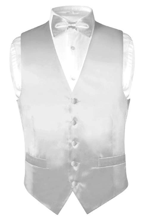 Biagio Men's SILK Dress Vest & Bow Tie Solid SILVER GREY