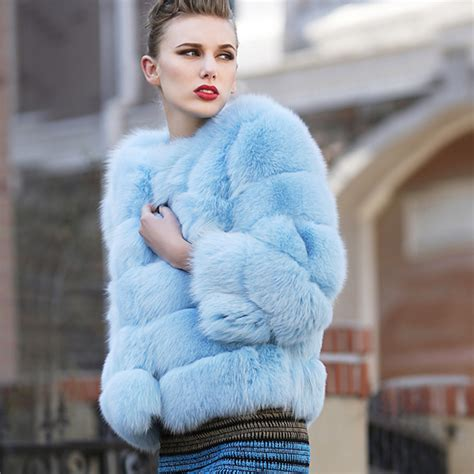 light blue faux fur coat 2014 women 39 s blue finland fox full leather fox fur coat