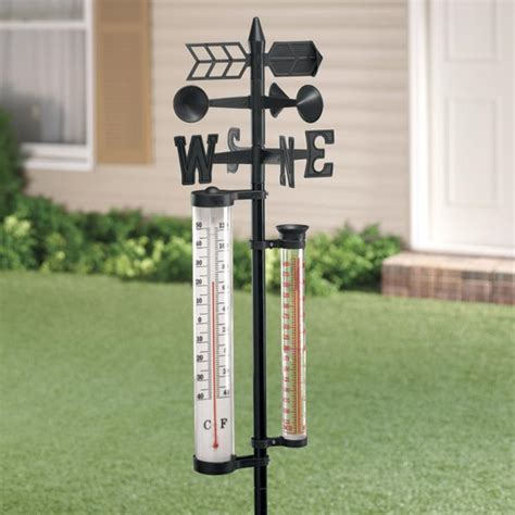 Decorative Outdoor Gauges by Weather Vane Center And Thermometer