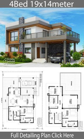 Home design plan 19x14m with 4 bedrooms Sims house plans