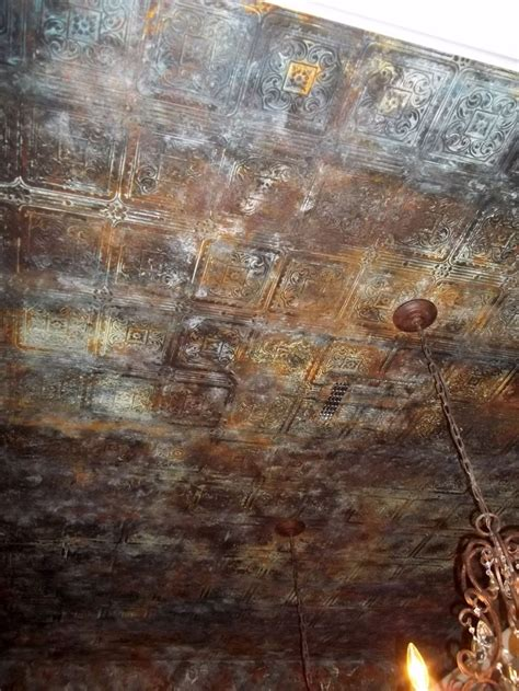 aged tin ceiling wallpaper metal paint faux