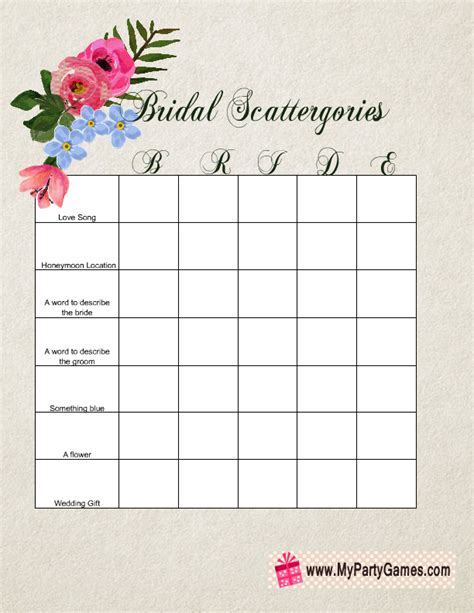 Printable Scattergories Game for Bridal Shower Free