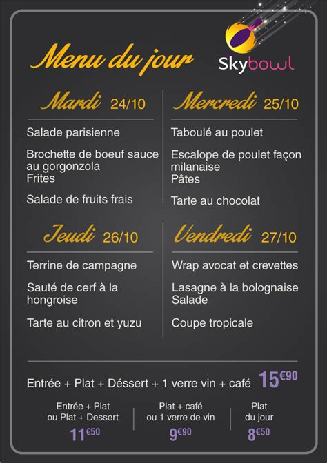 menu semaine cuisine az skybowl la carte du restaurant
