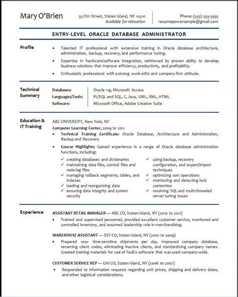 basic resume objective template oracle database administrator sle resume resumepower