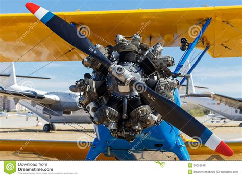 View Of An Old Airplane Engine Stock Image - Image of ...
