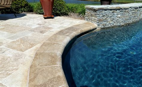 pool coping for wood deck