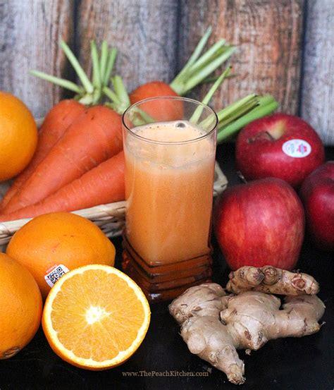 apple carrot orange  ginger juice  peach kitchen