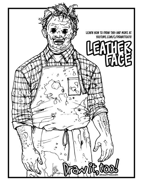 Coloring Leather by How To Draw Leatherface The Chainsaw