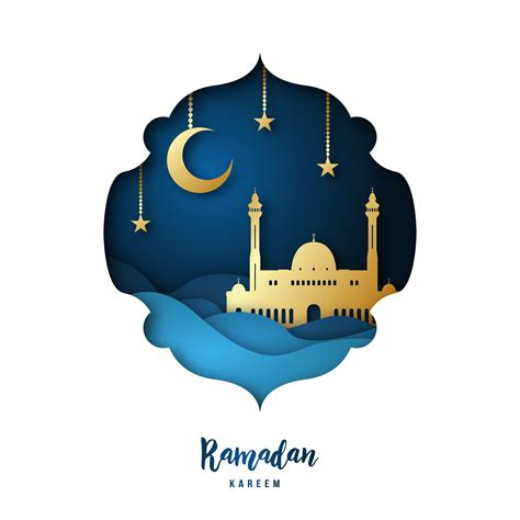 ramadan kareem illustration  arabic gold origami