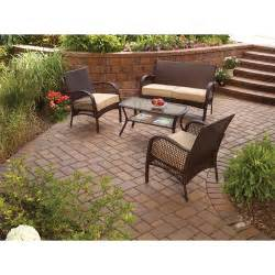Better Homes And Gardens Wicker Patio Cushions by Mainstays Wicker 4 Piece Patio Conversation Set Seats 4