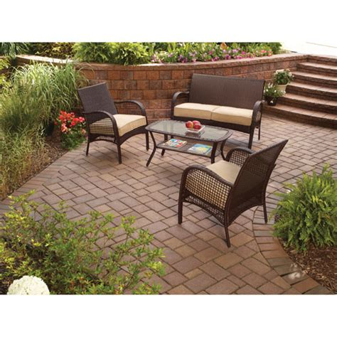 mainstays wicker 4 piece patio conversation set seats 4