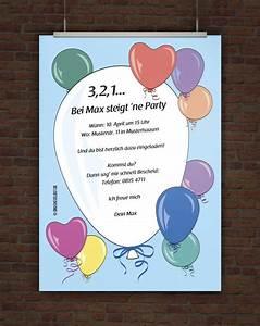 Einladungen Kindergeburtstag Selbst Gestalten : drucke selbst kostenlose einladung geburtstagsparty mit ballons ~ Markanthonyermac.com Haus und Dekorationen