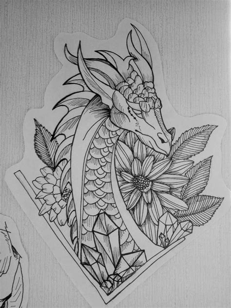 Dragon flowers tattoo sketch graft black and white #uniquedragontattoos | White tattoo, Tattoo