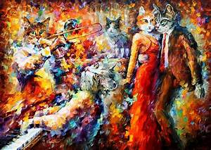 CAT CLUB— PALETTE KNIFE Oil Painting On Canvas By Leonid ...