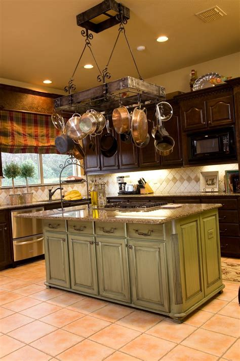 kitchen island with pot rack so many ways to quot go green quot even the kitchen island my