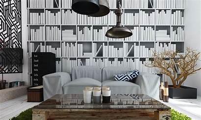 Bookcase Interior Living Wallpapers Modern Decor Designs