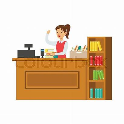 Librarian Library Illustration Vector Workplace Study Bookshelves