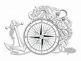 Anchor Compass Octopus Nautical Rose Coloring Drawing Tattoo Vector Printable Map Drawings Quotes Mandala Anchors Depositphotos Illustration Google Adults Sheet sketch template