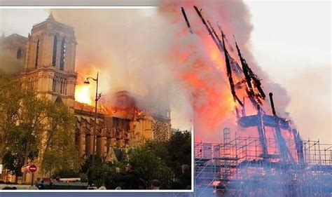 notre dame fire horror  paris cathedral spire collapses
