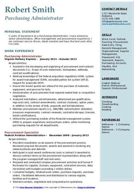 purchasing administrator resume samples qwikresume