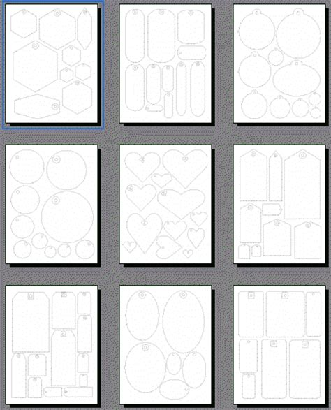 Scrapbooking Tags Templates, Printable Shapes