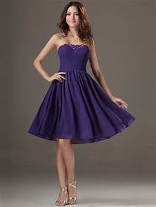 purple short knee length beaded chiffon strapless cheap With cheap plus size dresses for wedding guests