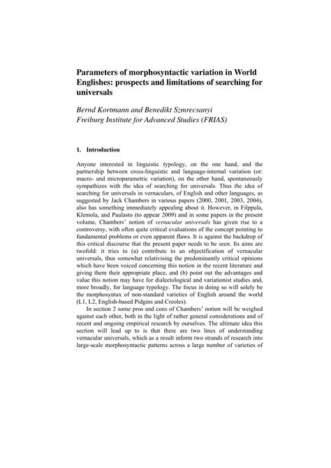 Pdf Parameters Of Morphosyntactic Variation In World