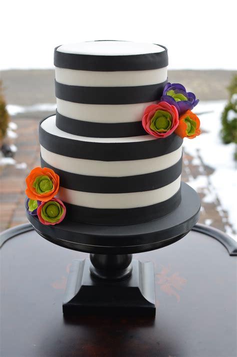 black  white striped cake  brightly colored sugar