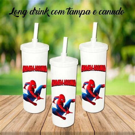Copo Long drink Homem aranha 350ML Com Tampa e Canudo no