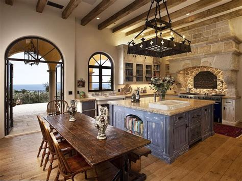 mediterranean kitchen with high ceiling simple granite