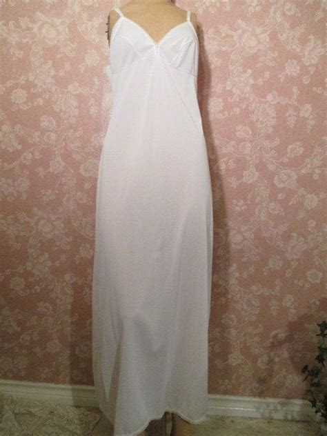 vintage white full slip long floor length lorraine
