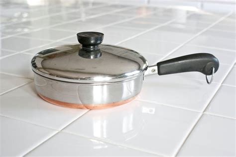 revere ware straight sided frying pan  lid  quart copper