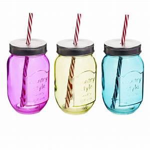 Cloche En Verre Maison Du Monde : verres en forme de bocaux avec paille dans le couvercle by ~ Melissatoandfro.com Idées de Décoration
