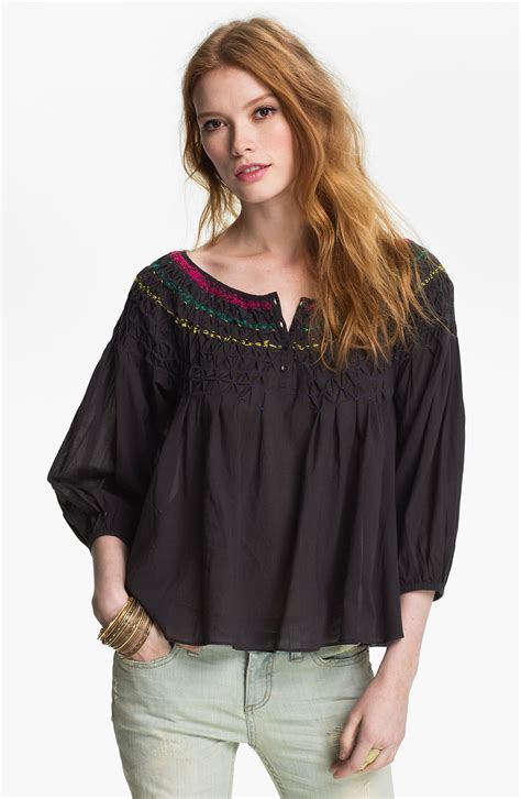 embroidered peasant blouse free embroidered peasant blouse in black end of