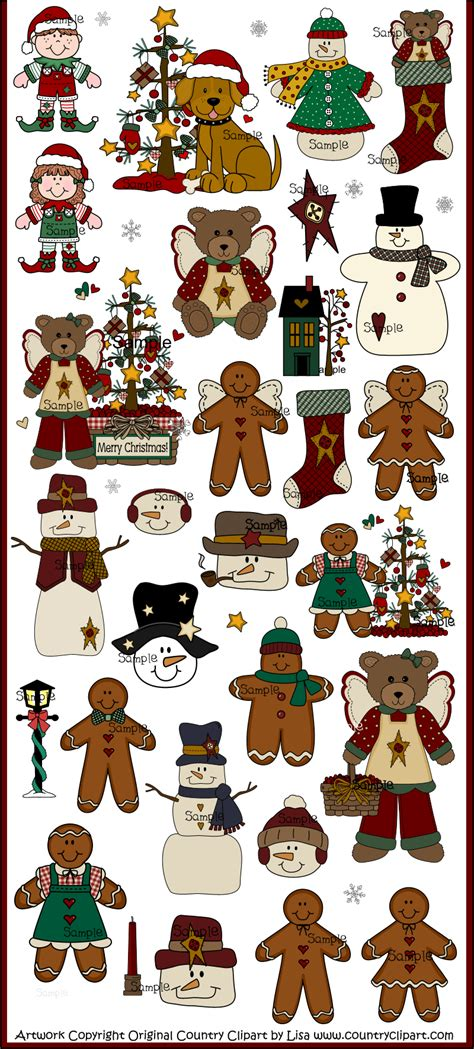 christmas  winter clip art collection cute country