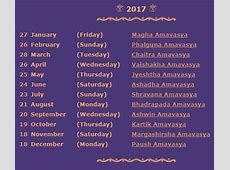 2017 Calendar Amavasya dates – New moon dates 2019