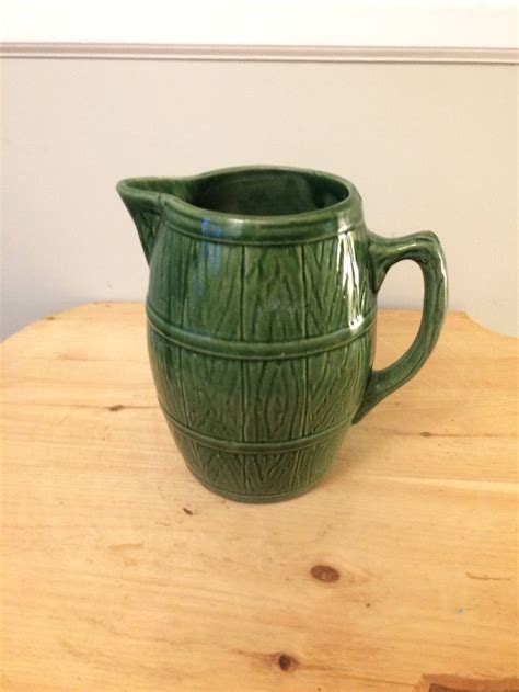Vintage Mccoy Green Stoneware Barrel Pitcher Marked With