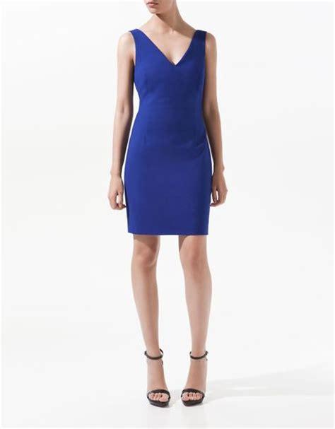 zra vneck dress zara v neck dress in blue ink lyst