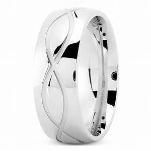 Wedding Band Men39s Infinity Engraved Wedding Ring 8 Mm