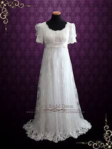 regency style lace wedding dress with empire waist amiee With regency style wedding dress