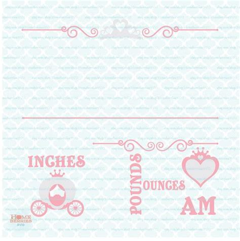 Minted also offers a number of smart and chic birth announcement formats, such as postcards and petites. Princess Birth Announcement Statistics Template svg Baby ...
