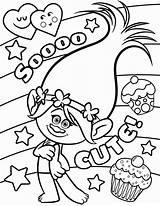 Coloring Trolls Poppy Princess Printable Sheet Biggie sketch template