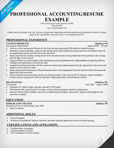Sle Cpa Resume by Professional Accounting Resume Resume Sles Across All