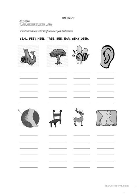 long vowel  worksheet  esl printable worksheets